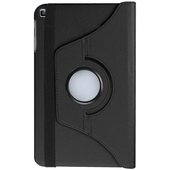"""Fibaks Huawei Mediapad T5 10.1"""" Kılıf + Kalem 360 Derece Dönebilen Standlı Tam Koruma Uyku Modlu Kapaklı Siyah"""