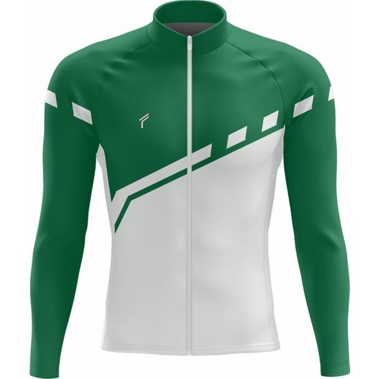 Freysport Lane Bisiklet Forması - Uzun Kollu Yeşil Beyaz