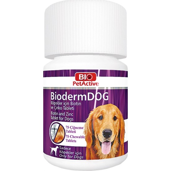 Bio Pet Active Bioderm Dog Biotin Çinko Takviyesi 75 Tablet