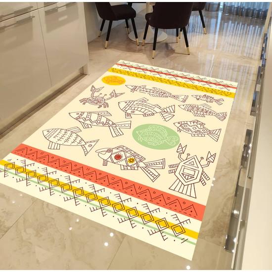 Evpanya Maya Çizimleri Desenli Mutfak Halısı 80 x 150 cm