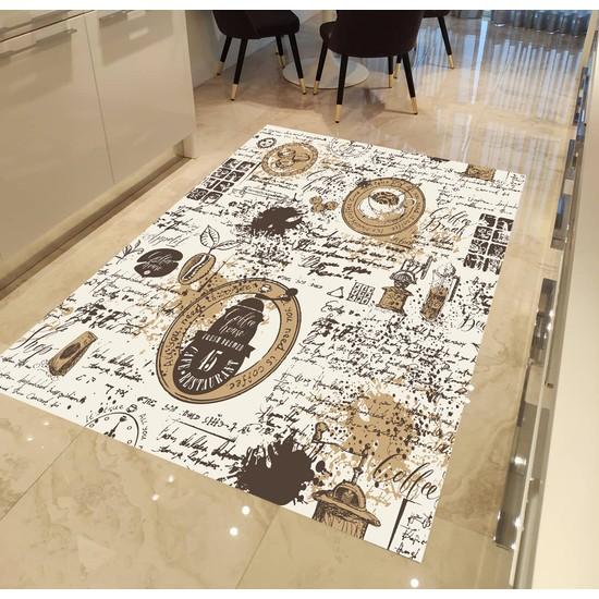 Evpanya Kahve Yazılı Desenli Mutfak Halısı 80 x 150 cm