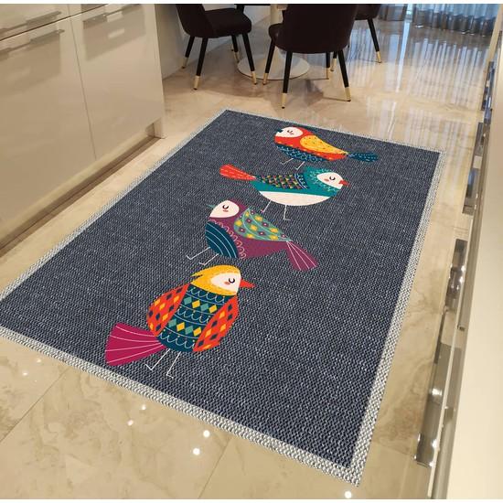 Evpanya Gri Hasır Renki Kuş Desenli Mutfak Halısı 80 x 150 cm
