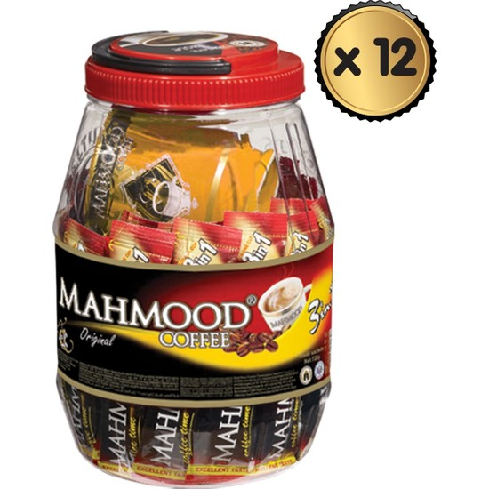 Mahmood Coffee 3ü1 Arada 36 Adet Kavanozlu Bardak Hediyeli x 12 Paket -1 Koli
