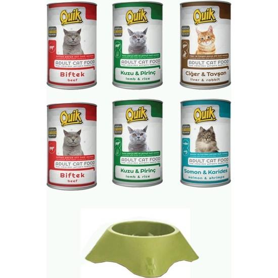 Quik Konserve Kedi Maması 6 Adet ve Mama Kabı