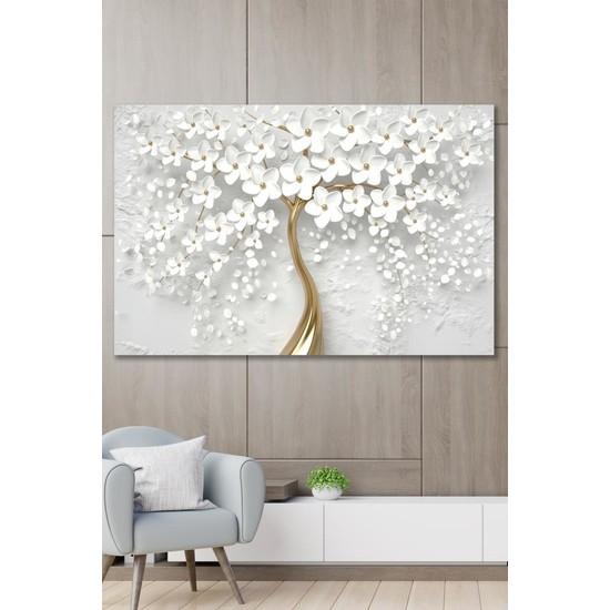 Hediyeler Kapında 70 x 100 Dekoratif Beyaz Gelincik Duvar Kanvas Tablo