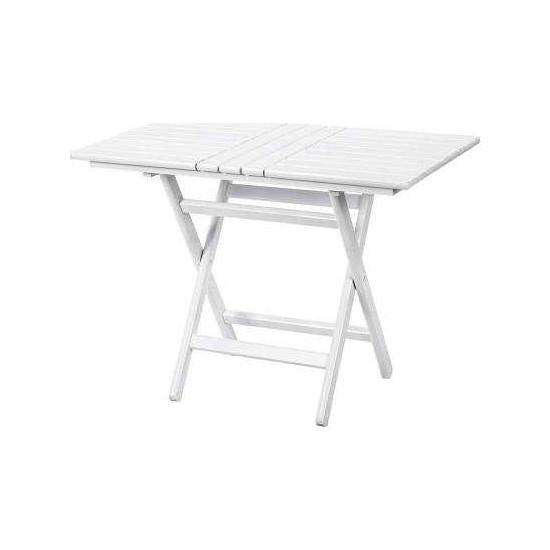 Bahçeme Ahşap Bahçe Balkon Mutfak Masası -Kaş Katlanabilir 60x100 Beyaz