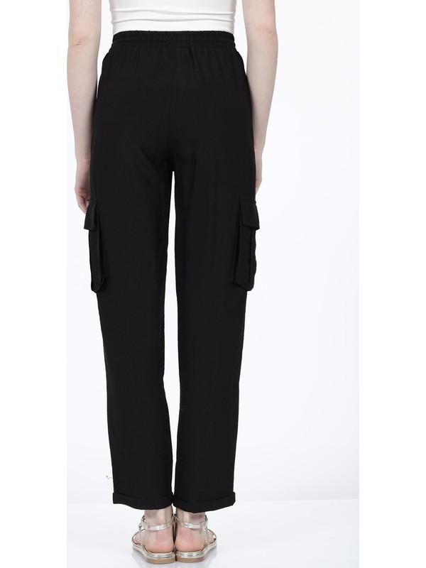 Vitrin Beli Lastikli Bağcıklı Kargo Cep Detaylı Pantolon