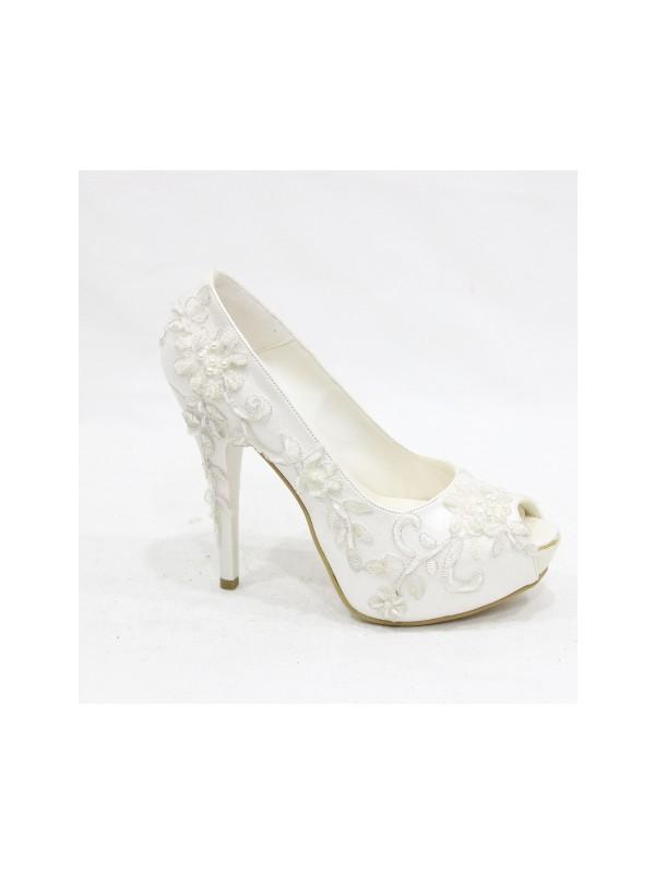 Arıcı Güpür İşlemeli Açık Beyaz Platform Gelinlik Ayakkabısı