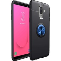 Fibaks Samsung Galaxy J6 Plus Kılıf Ravel Metal Yüzüklü Standlı Shockproof Silikon Siyah - Mavi