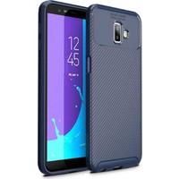 Fibaks Samsung Galaxy J6 Plus Kılıf Rugged Armor Negro Karbon Silikon Lacivert