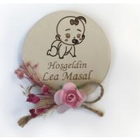 Nermin Süsleme Ahşap Çiçekli Bebek Şekeri Magnet 25 Adet