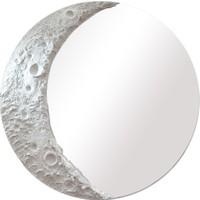 Moon Yuvarlak Gri Renkte Krater Konsol Ayna