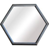 Moble Altıgen Ahşap Desenli Konsol Ayna 70 x 82 cm