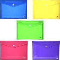 Umix Çıtçıtlı Zarf Dosya A4 5'li Neon Renkler - 300 Mikron Kalınlık