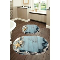 Colizon 60X90 - 50X60 Dijital Banyo Halısı Deri Tabanlı Oval Klozet Takımı 2'li TYLOB-2106