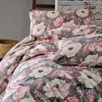 Cotton Touch Floral Gri Ranforce Çift Kişilik Nevresim Takımı