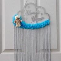 Meşgalem Kişiye Özel Çocuk Odası Ayıcıklı Mavi Şeffaf Gümüş Kapı Süsü