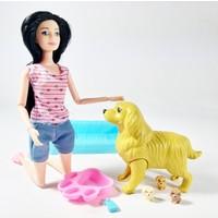 Ethem Barbie Oyuncak Bebek ve Doğuran Köpeği 3 Yavrusu ve Yatağı