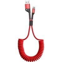 Marstec Kırmızı USB To Type-C Araç İçi Esnek Yaylı Şarj Kablosu - 1.5 mt