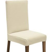 Latuda Likralı Yıkanabilir Krem Sandalye Kılıfı   Sandalye Örtüsü 6'lı