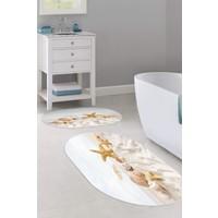 Colizon 60X90 - 50X60 Dijital Banyo Halısı Kaymaz Tabanlı Oval Klozet Takımı TYKOB-2114