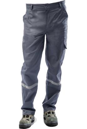 Çamdalı İş Elbiseleri 7/7 Gabardin Kışlık Gri İşçi Pantolonu Kalın Reflektörlü İş Pantolonu M