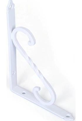 Ersa Ferforje Dekoratif Raf Altı Raf Ayağı Beyaz 155 x 230 mm