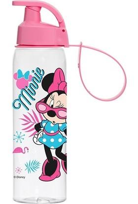 Herevin Gözlüklü Minnie Mouse Kız Çocuk Matarası Suluk 500 ml Pembe