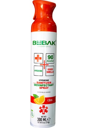 Bebak Dezenfektan Antibakteriyel Hava Temizleme Spreyi Citrus 300 ml