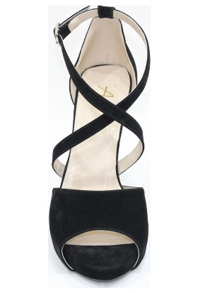 Arıcı Siyah Süet Platform Açık Ayakkabı