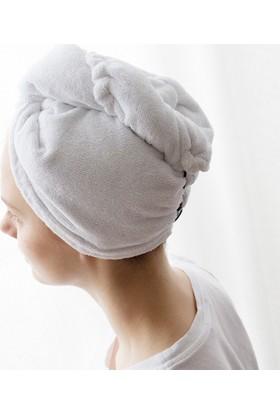 Meltem 2 Adet Pamuklu Baş Havlusu Saç Kurutma Bonesi Beyaz