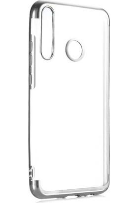Tekno Grup Huawei Y6P Kılıf Dört Köşe Renkli Şeffaf Lazer Silikon + Nano Ekran Koruyucu Gümüş
