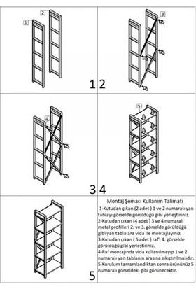 Çalışkan Home 5 Raflı Ceviz Metal Kitaplık