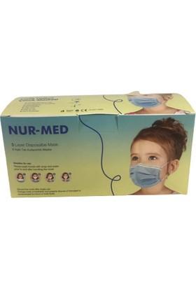 Nurmed Mavi Cerrahi Maske Çocuklar Için 2x50 Adet 3 Katlı Ultrasonik Gövde 3 Katlı Telli Uts Kayıtlı