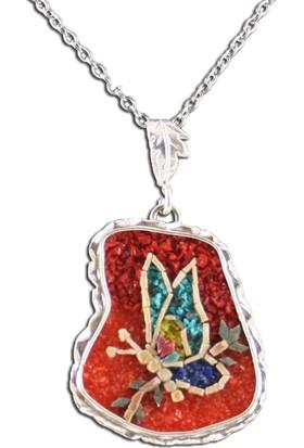 Antik Mozaik Psyke Kelebeğin Ruhu 2 - Firuze , Lapis , Mercan Taşlardan El Yapımı Kolye