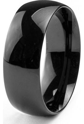 Başar Gümüş Çelik Yüzük Unisex 6 mm Siyah