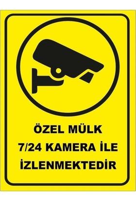 Orafol Özel Mülk 7-24 Kamera Ile Izlenmektedir Levhası / Tabelası Yapışkanlı Folyo Etiket- 35 x 50 cm