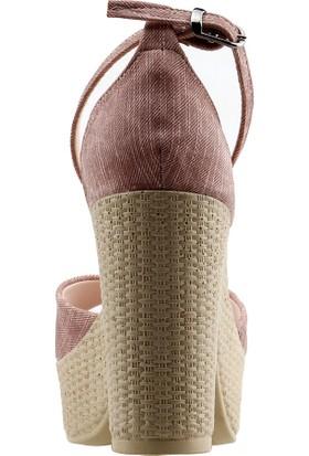 Ayakland 15136-1188 Günlük 10 cm Topuk Kadın Kot Sandalet Ayakkabı