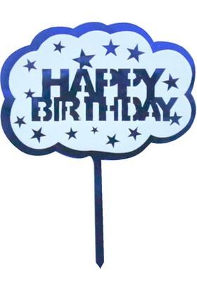 Ohlala Party Happy Birthday Yazılı Lacivert Lazer Kesim Pasta Süsü