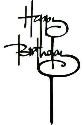 Ohlala Party Siyah Italik Happy Birthday Yazılı Pasta Süsü