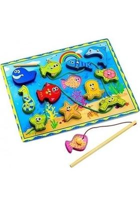 Sealife Mıknatıslı Ahşap Balık Tutma ve Ipe Dizme Oyunu