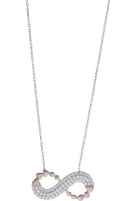 Dalmarkt Sonsuzluk Figürlü Kalp Desenli Taşlı Rose Kolye 925 Ayar Gümüş