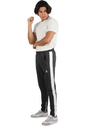 Longer Longer Antrasit Beyaz Şeritli Erkek Eşofman Alt