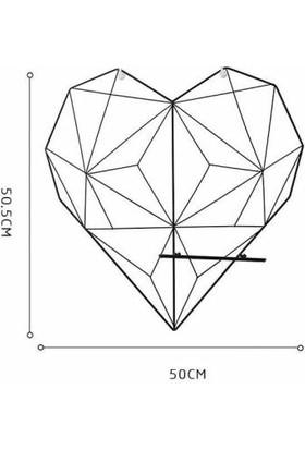 Ince Çizgi Kalp Tel Resimlik Metal Pano Askılık Notluk