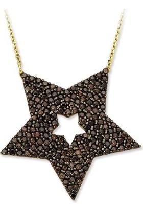 Dalmarkt Siyah Yıldız Figürlü Kolye 925 Ayar Gümüş