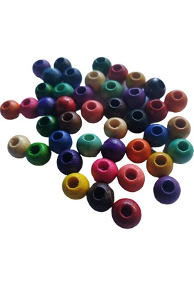 Selin 10 mm Karışık Renkli Ahşap Boncuk 100 gr 300'lü