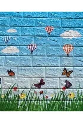 NW77 Çocuk Yurdu Anaokulu Bulut Kelebek Balon Desenli Kendinden Yapışkanlı Silinebilir Esnek Duvar Paneli
