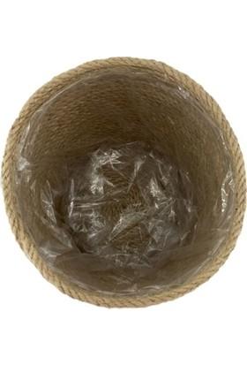Aden Tasarım Hasır Sepet Saksı Doğal Lif Sepet 15 cm