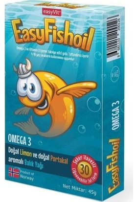 Easyvit Omega-3 -Doğal Limon Doğal Portakal Aromalı Balık Yağı 30 Tablet - Çocuklar Için