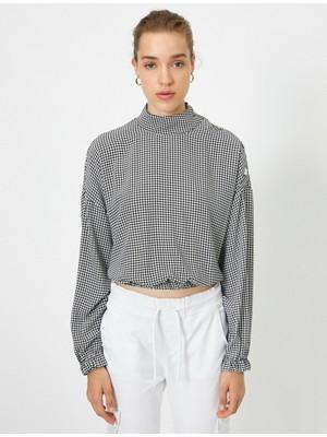Koton Kaz Ayagi Desenli Uzun Kollu Dügme Detaylı Bluz
